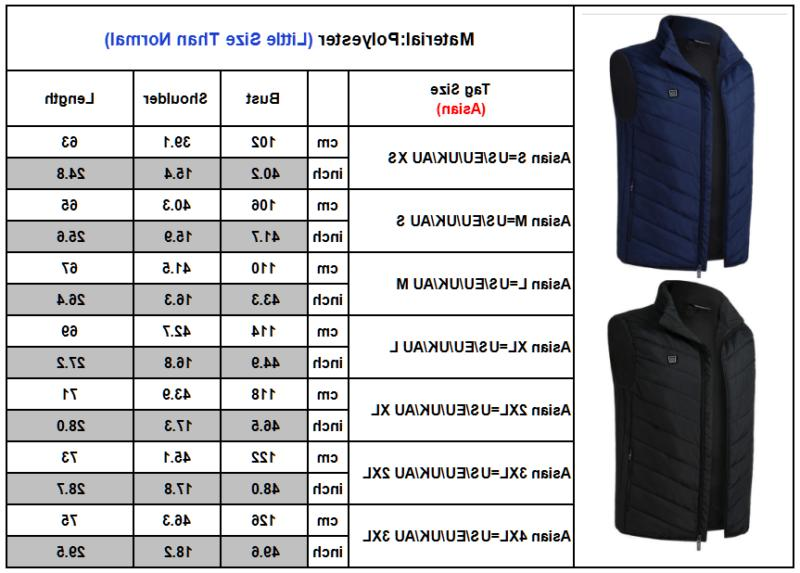 Mens Electric Vest Heated Jacket Clothes Heating Pad Winter Warm