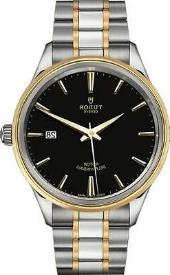 Tudor Style Black Dial Steel and Yellow Gold 41mm Men's Dres
