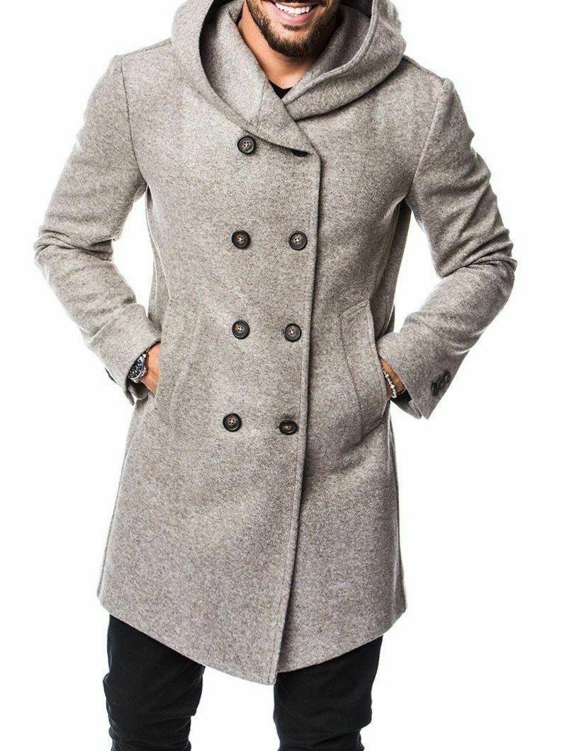 wool coat men winter jacket casual outerwear