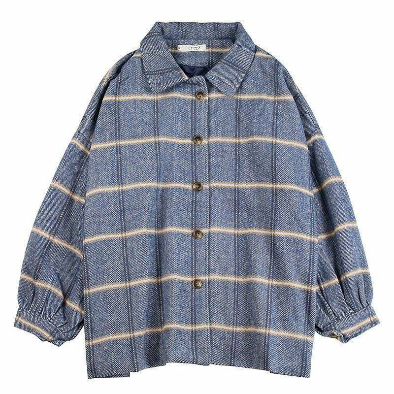 Woolen Coat Loose Jackets Collar Office Work Wear
