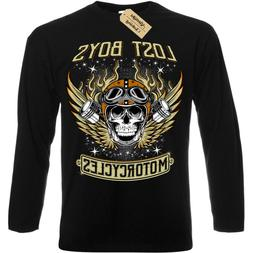 Lost boys Motorcycles T-Shirt biker clothing skull Mens Long
