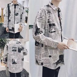 Male Clothes Fashion Long Sleeve Boy Men Shirts Newspaper Pr