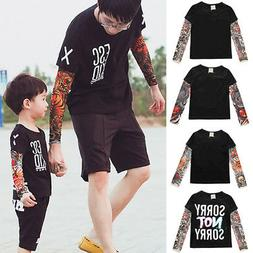 Men Boys Long Sleeve T-shirt Father Son Matching Tattoo Tops