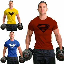 Men Casual Superman Sport Gym T-Shirt Bodybuilding Fitness C