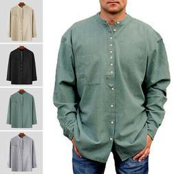 men linen shirt long sleeve casual grandad