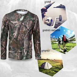 Men Long Sleeve Camo T-Shirt Quick Drying Clothes Outdoor Hu