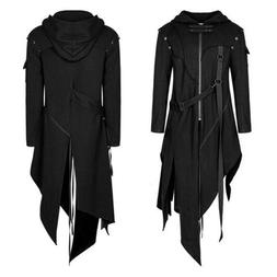 Men Medieval Jacket Hooded Long Coat Gothic Retro Cardigan O