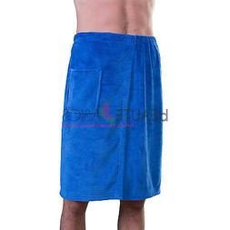 Appearus Men's Plush Fleece Spa Shower Body Wrap / Navy Blue