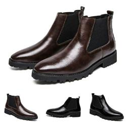 Men Pull On Leather Ankle Boots Shoes Work Pointy Toe Breath