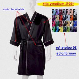 Men's 19 Momme 100% Mulberry Silk Kimono Bath Robes Sleeping