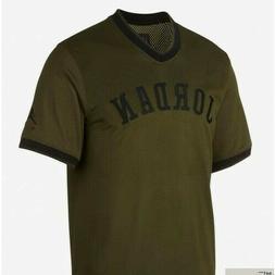 Men's Air Jordan Sportswear Mesh Jersey Shirt Olive/Black Fa