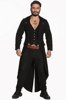 Men's Black Steampunk Gothic Victorian Tailcoat Trench Long