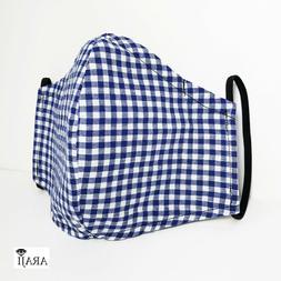 Men's Business Casual Blue Plaid Cloth Fabric Face Mask 100%