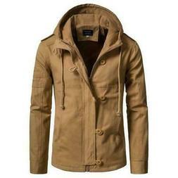 Men's Hooded Outwear Long sleeve Jackets Western style Zippe
