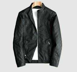 Men's Leather Jacket Outdoor Streetwear Clothes Male Fashion