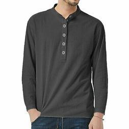 Men's Linen Cotton Stylish Shirt Clothes Solid Color Long Sl