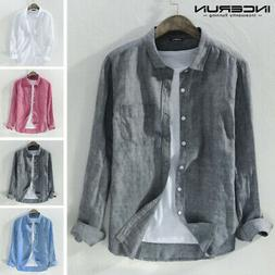 Men's Long Sleeve Cotton Linen Slim Fit Shirts Casual Holida