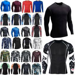 Men Long Sleeve T-Shirt Baselayer Cool Dry Compression Gym S
