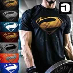 Men's New Superman Gym Singlets T-Shirt Bodybuilding Fitness