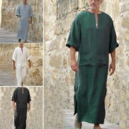Men's Plain Ethnic Robes Loose Long Sleeve Muslim Middle Eas