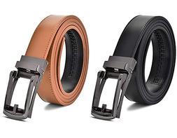 Men's Ratchet Belt 2 Pack! Leather Dress Belt with Automatic