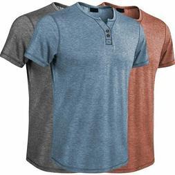 Men's Solid Fshion Tshirt Casual Short Sleeve V-Neck Henley