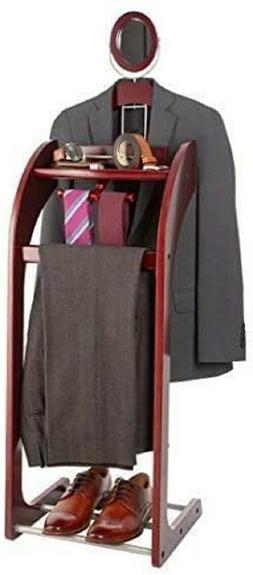 Men's Suit Valet Stand Clothes Shoe Accessory Tray Wood Orga