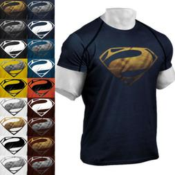 Men's Superman Gym Singlets Short T-shirt Bodybuilding Fitne