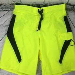 US Apparel Men's Sz MEDIUM Ocean Beach Neon Yellow & Black Q