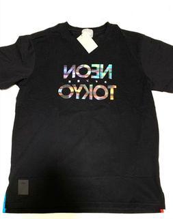 """Men's ASICS Tiger Black """"Neon Tokyo"""" Logo Tee - Shirt Size X"""