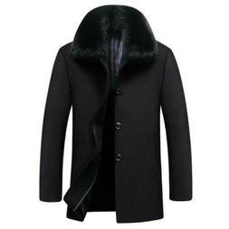 Men's Wool Blend Coat Fur Collar Jacket Peacoat Brushed Fur