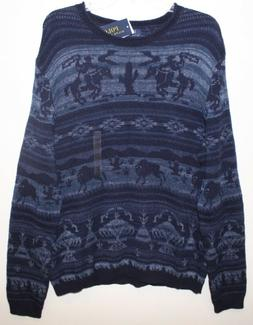 Polo Ralph Lauren Mens Blue Southwestern Cotton Linen Sweate