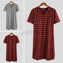 Men's Casual Loose Nightwear Nightshirt Short Sleeve V-Nec