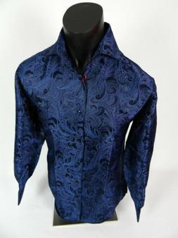 Mens Leonardi Dress Shirt Dark Blue Floral Design with Sheen