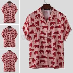 Mens Fashion Short Sleeve Printed Dress Shirts Streetwear Hi