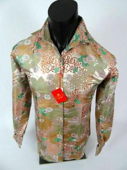 Mens Leonardi French Cuff Dress Shirt Light Gold Floral Styl