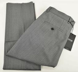 HUGO BOSS Mens Medium Gray MADISEN Flat Front Virgin Wool Dr