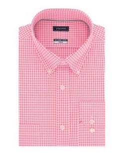 Men's Pink & White Gingham Button Down Shirt Checkered Ame