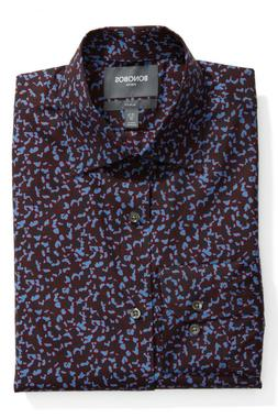 Bonobos Mens Slim Fit 16/35 Cheetah Print Dress Shirt Stretc