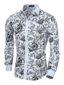 Fashion Mens Slim Fit Floral Shirt Casual Long Sleeve Dress