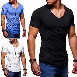 Mens Summer Clothes T Shirt Mens O-NeckShort-sleeved Slim Fi