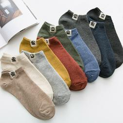 Mens Summer Cotton Ankle Socks Low Cut Solid Color Casual Dr