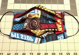 Men's Sz NASCAR/Black Cloth Fabric Face Mask Cotton Washab