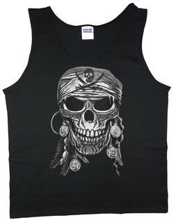 Mens Tank Top Graphic Tee Pirate Skull Sleeveless Shirt Musc