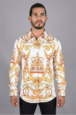 Mens White and Gold Designer Print Dress Shirt By Platini