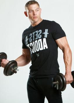 NEW MEN's Muscle Club Apparel SETS ADDICT Short Sleeve Bodyb