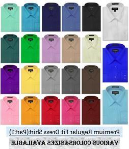 MENS Solid Long Sleeve Premium Regular fit Dress Shirt 26 Co