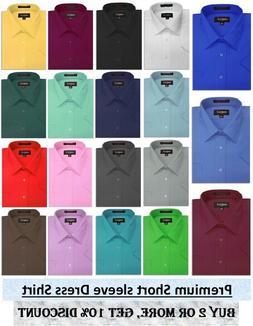 Mens Solid SHORT SLeeve Premium Regular fit Dress Shirts, 26