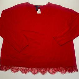 Lane Bryant NWT Red Plus Size 26/28 Long Sleeve Pullover Swe