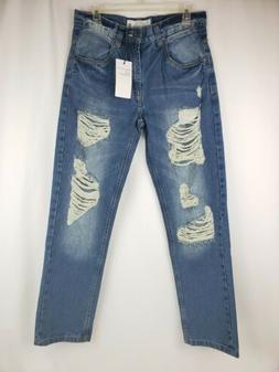 Paper Denim & Cloth Slim Straight Distressed Ripped Jeans Me